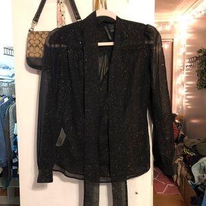 mango black glitter tie neck blouse